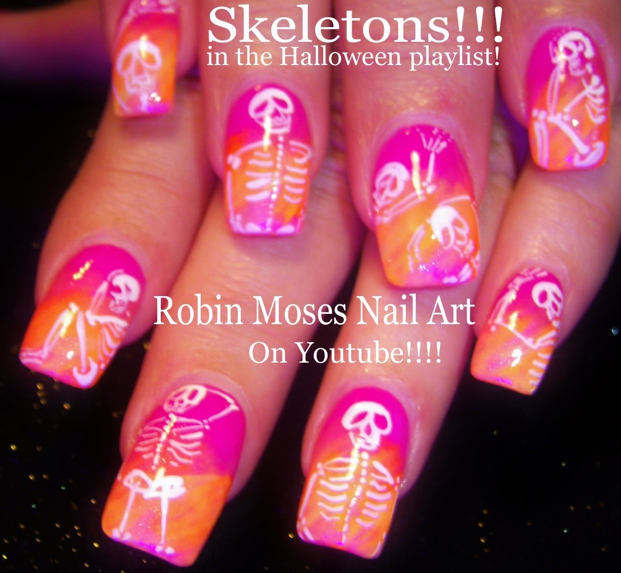 Robin moses nail art skeleton nails halloween nails 10 nail art tutorials diy easy halloween nail designs neon skeletons prinsesfo Gallery