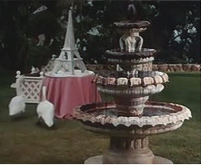 eiffel tower cake and chocolate fondue fountain