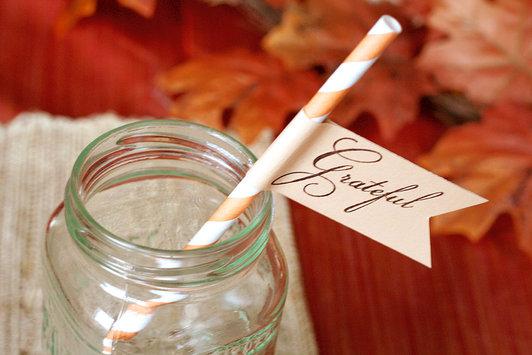 """Greatful"" Thanksgiving Straws"