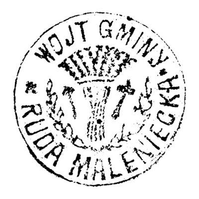 Pieczęć wójta gminy Ruda Maleniecka na dokumencie z 1927 roku, w Wydziale Ksiąg Wieczystych Sądu Rejonowego w Końskich, księga hipoteczna nr 935; średnica 30 mm.