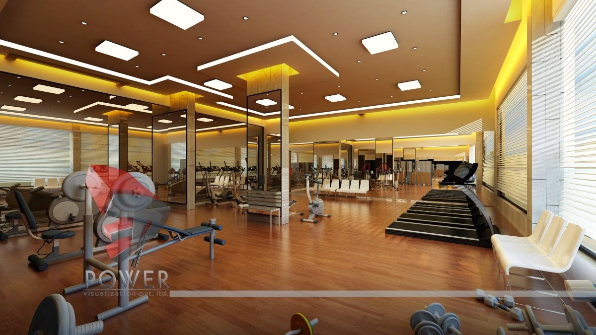 Floor & Ce-ling Of Gym In 3D