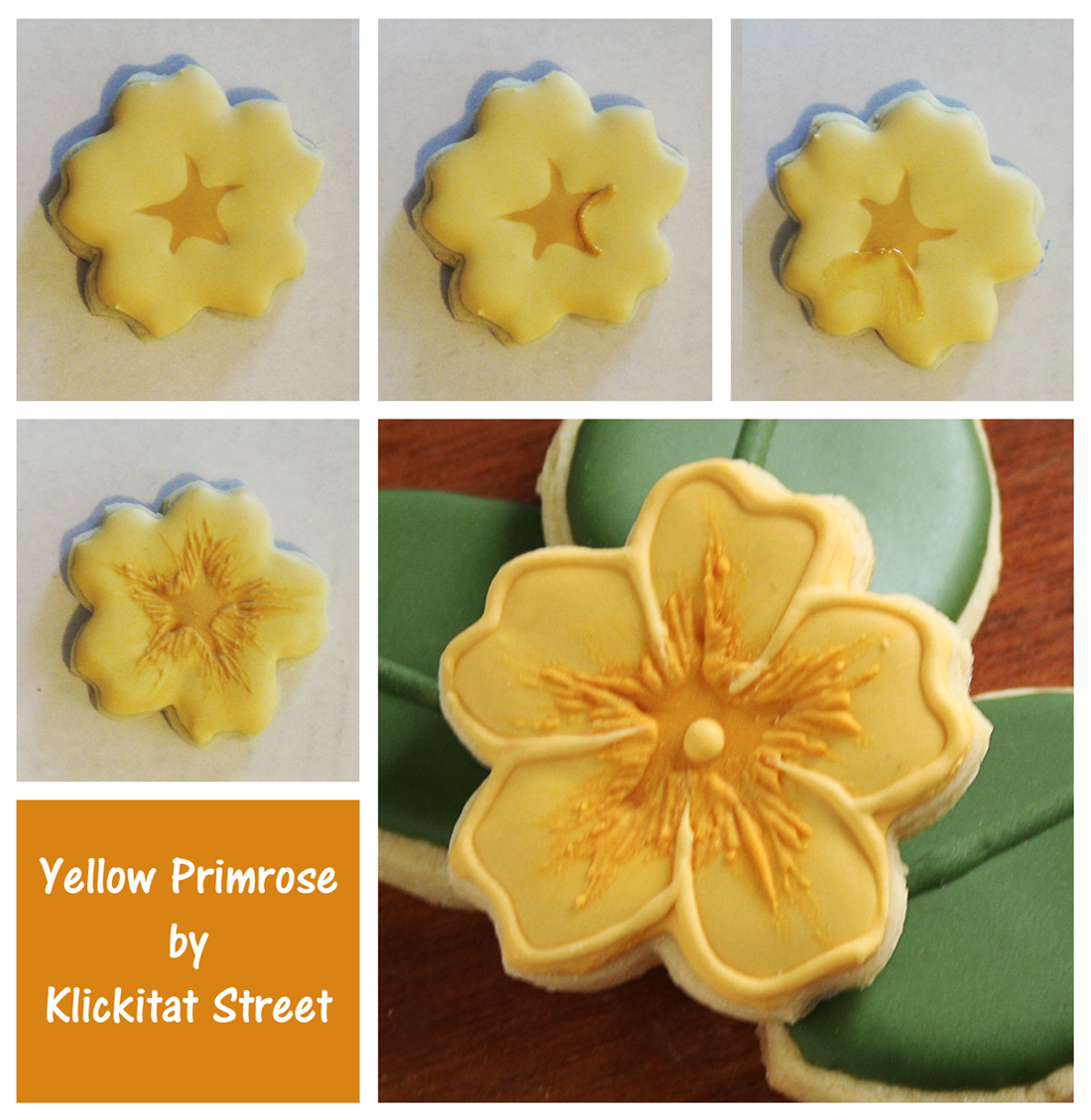 brush embroidery decorated sugar cookies iced to look like yellow primrose flowers by Klickitat Street