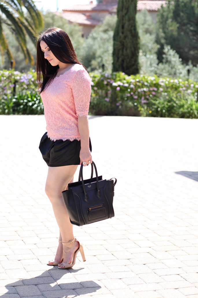 pink-lace-top-piperlime-nars-chihuahua-lipgloss-king-and-kind-spring-makeup-tildon-shorts-celine-bag-zara-nude-heels