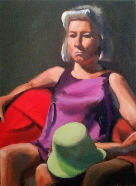 Oil painting of a woman with silver hair in a short purple dress holding a light green hat, sitting in a chair with a red covering.
