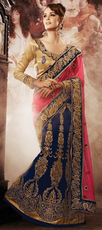 new lehnga style wedding sarees 2015