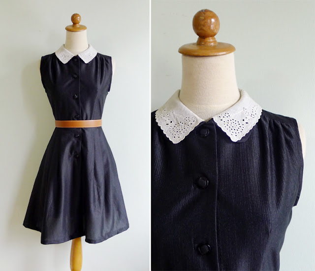 vintage lace eyelet collar black dress