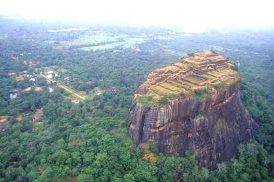 Aerial view photo, Sigiriya Lion Rock, Sri Lanka, ramped pyramidal structure,  summit