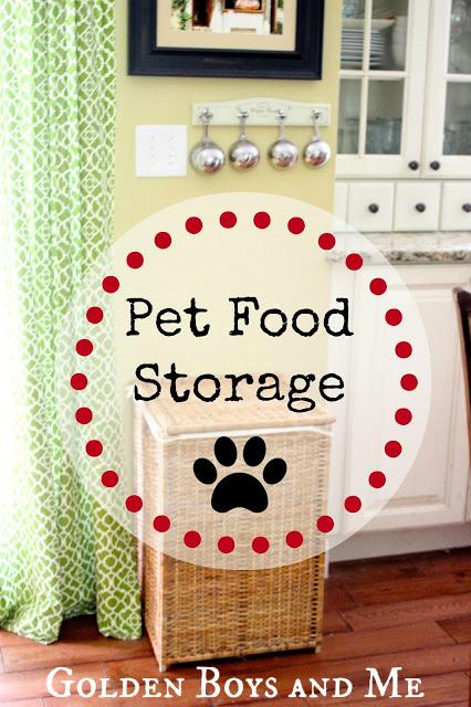 pet food storage in an Ikea wicker hamper via www.goldenboysandme.com
