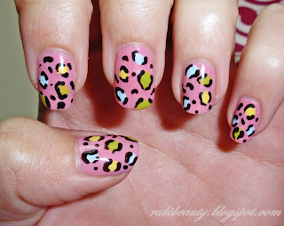 rubibeauty pink leopard nails