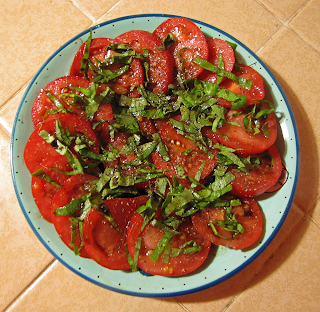 Plate of Tomatoes with Basil and Balsamic