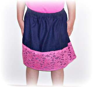 image lace and cotton gathered skirt in pink and navy blue