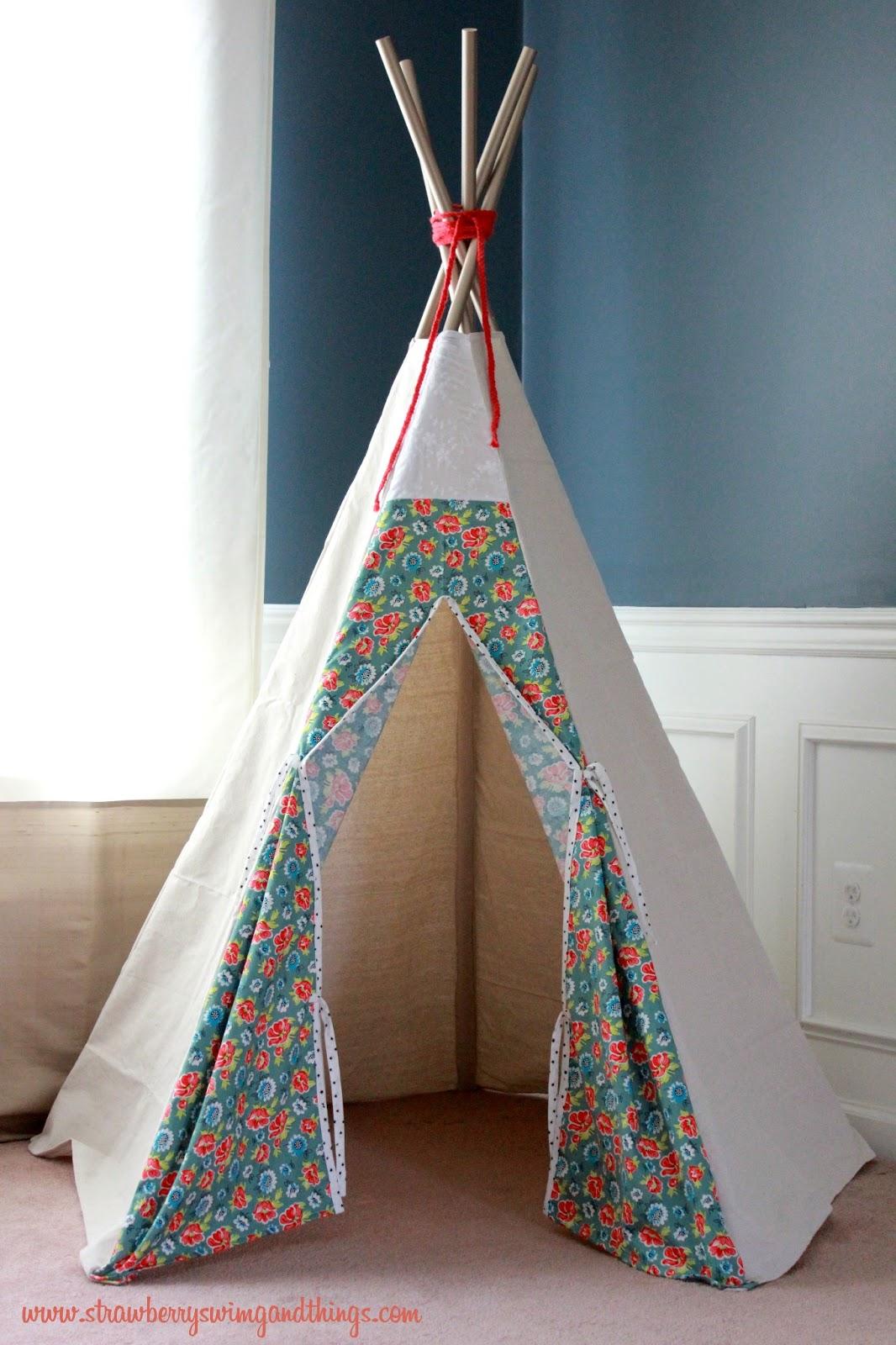 [Sew Fun] DIY Teepee Tutorial & Strawberry Swing and other things: [Sew Fun] DIY Teepee Tutorial
