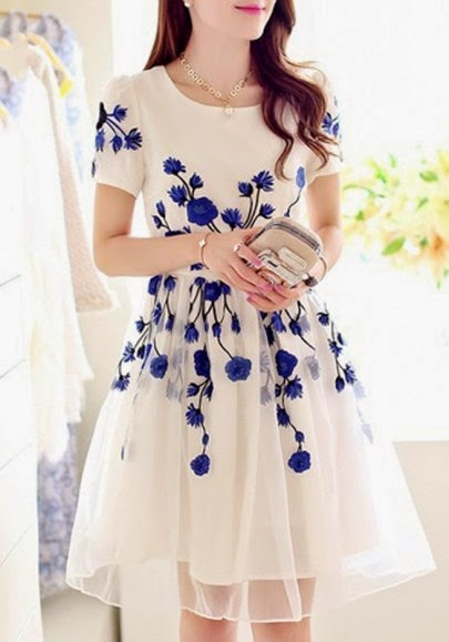 Blue Flowers Embroidery Chiffon Dress