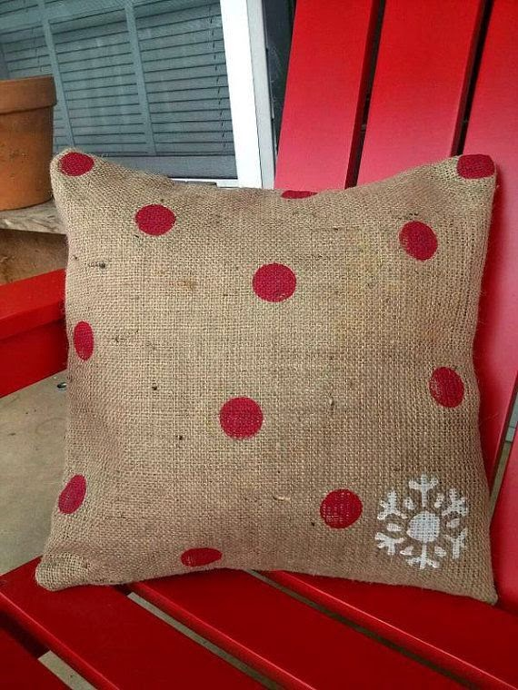 burlap pillow, red chair, red polka dots, porch, outside decorations