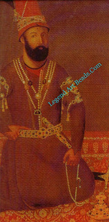 Above: Nadir Shah, ruler of Persia and scourge of Delhi. The Mughal bazubands which he wears on his arms, part of his Indian loot, put the painting's date after the sack of Delhi in 1739.