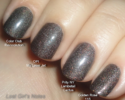 Priti NYC Lambstail cactus, OPI my private jet, Color club revvvolution and golden rose 118phic polish comparison