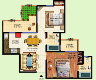 Amrapali Terrace Homes :: Floor Plans 2 BHK + 2T + Terrace