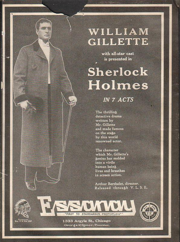 Sherlock Holmes (1916 film) Markings Sherlock Holmes William Gillettes lost 1916 Silent Film