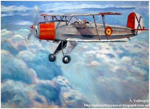 Pintura al óleo de un biplano CASA 1 131 Bucker Jungmann