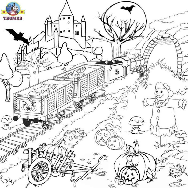 printable pictures to color James Thomas the train Halloween coloring  title=