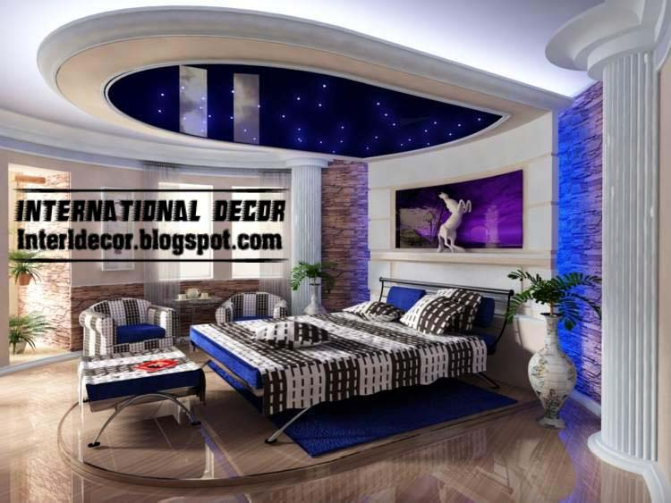 Modern Blue Pop False Ceiling Designs For Bedroom Interior Gypsum False Ceiling