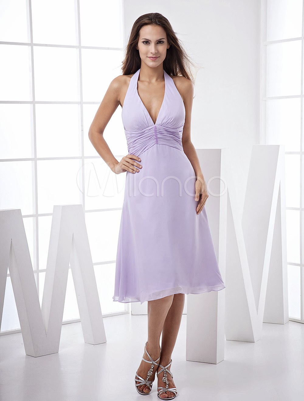 China Wholesale Dresses - V-Neck Backless Satin Chiffon Summer Prom Dress