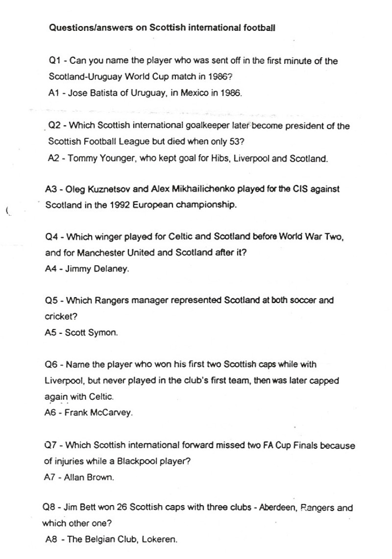 scottish football quiz questions and answers
