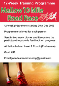 Start of a 12-wk training programme for the Mallow 10 mile