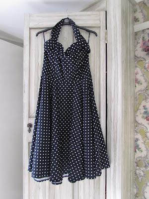 Navy blue polka dot bridesmaid dress