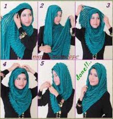 Gambar Tutorial Hijab Menutup Dada Terbaru 2015