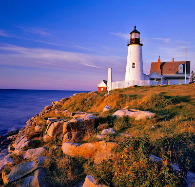 Pemaquid Point Lighthouse in Bristol, Maine, USA