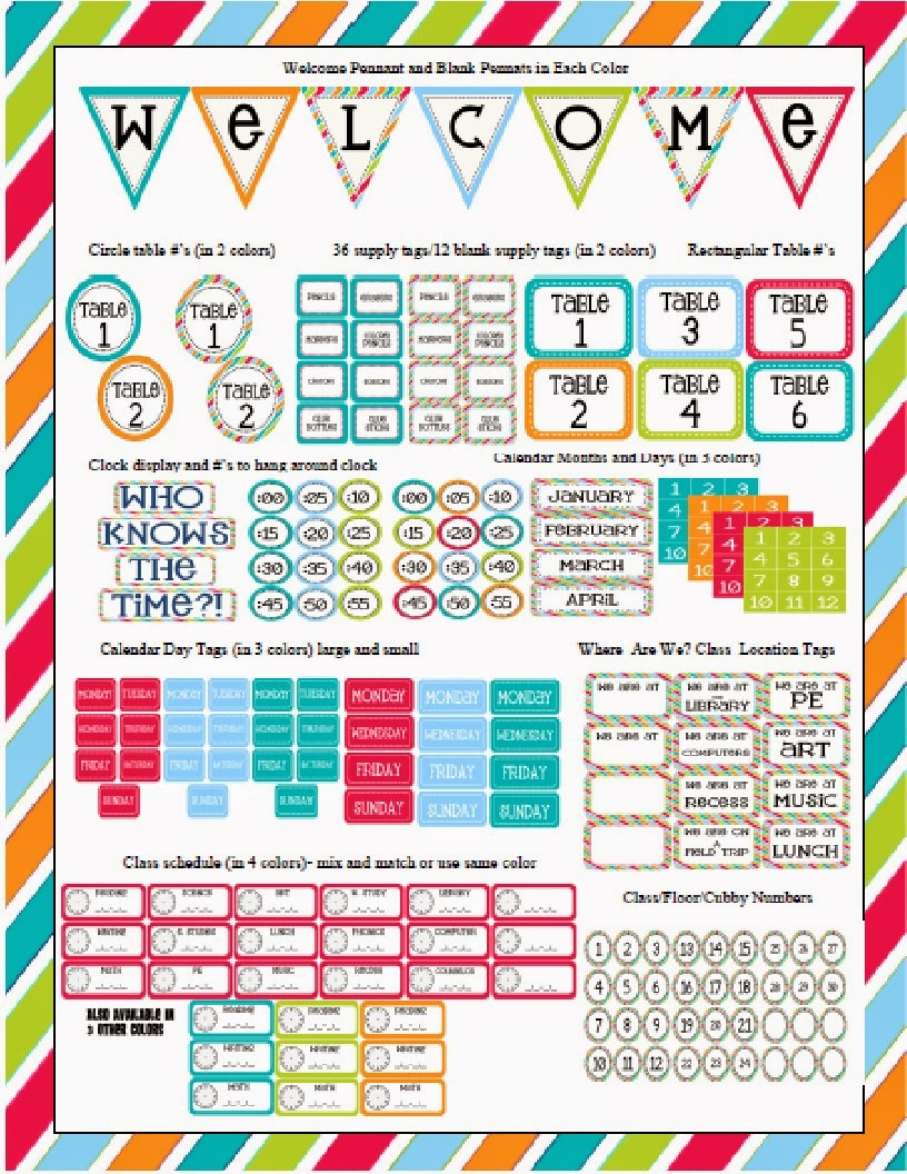http://www.teacherspayteachers.com/Product/Turquoise-Dot-themed-Classroom-Set-764056