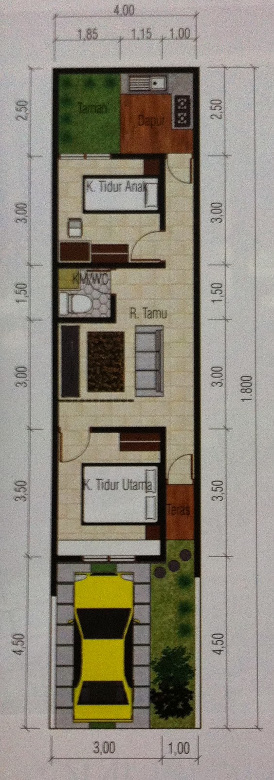 Desain Rumah Ukuran 4x10 Meter