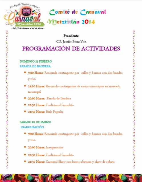 Programa carnaval metztitlán 2014