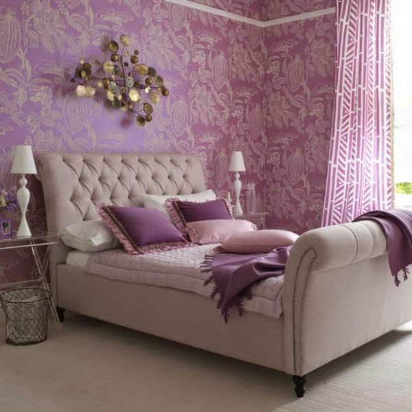 purple bedroom ideas and purple wallpaper and curtains