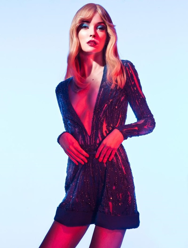 Elie Saab 2015 SS Electric-Blue Sparkling Short Jumpsuit Editorials