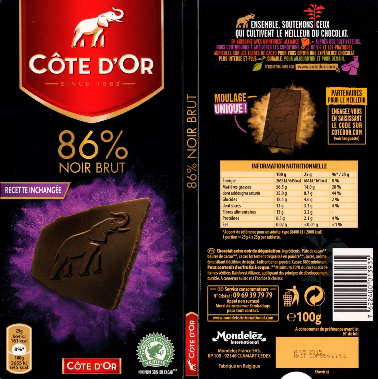 tablette de chocolat noir dégustation côte d'or noir brut 86