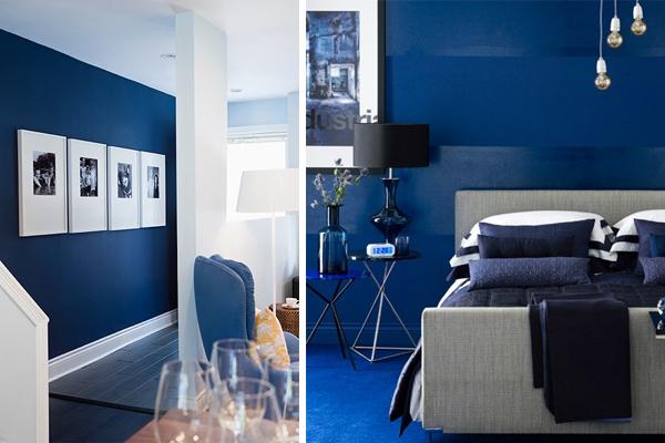 Slaapkamer Blauw Verven : Bonjaro kleurtrend donkerblauw
