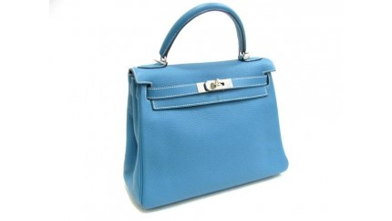 8cb2127e7da7 SHOP HERMES BIRKIN  Hermes Kelly 28 CM Blue Jean Clemence leather ...