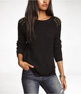 Studded Side Slit Shaker Knit Sweater