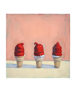 dairy queen cherry dipped cone, junk food painting, thiebaud still life