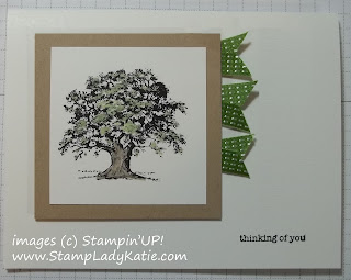Card made with ribbon flags and Lovely as a Tree Stamp Set.