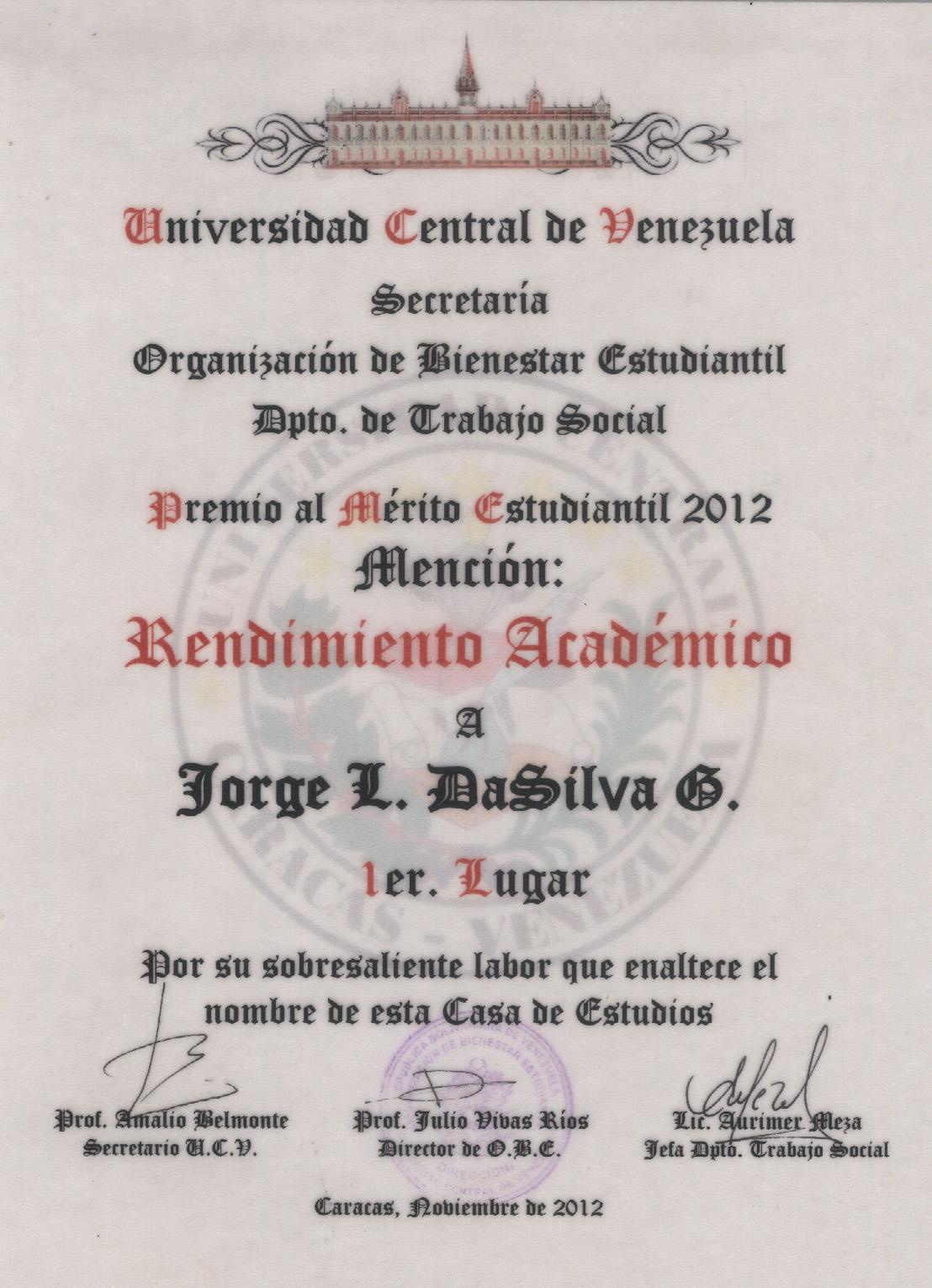 Mérito Estudiantil 2012