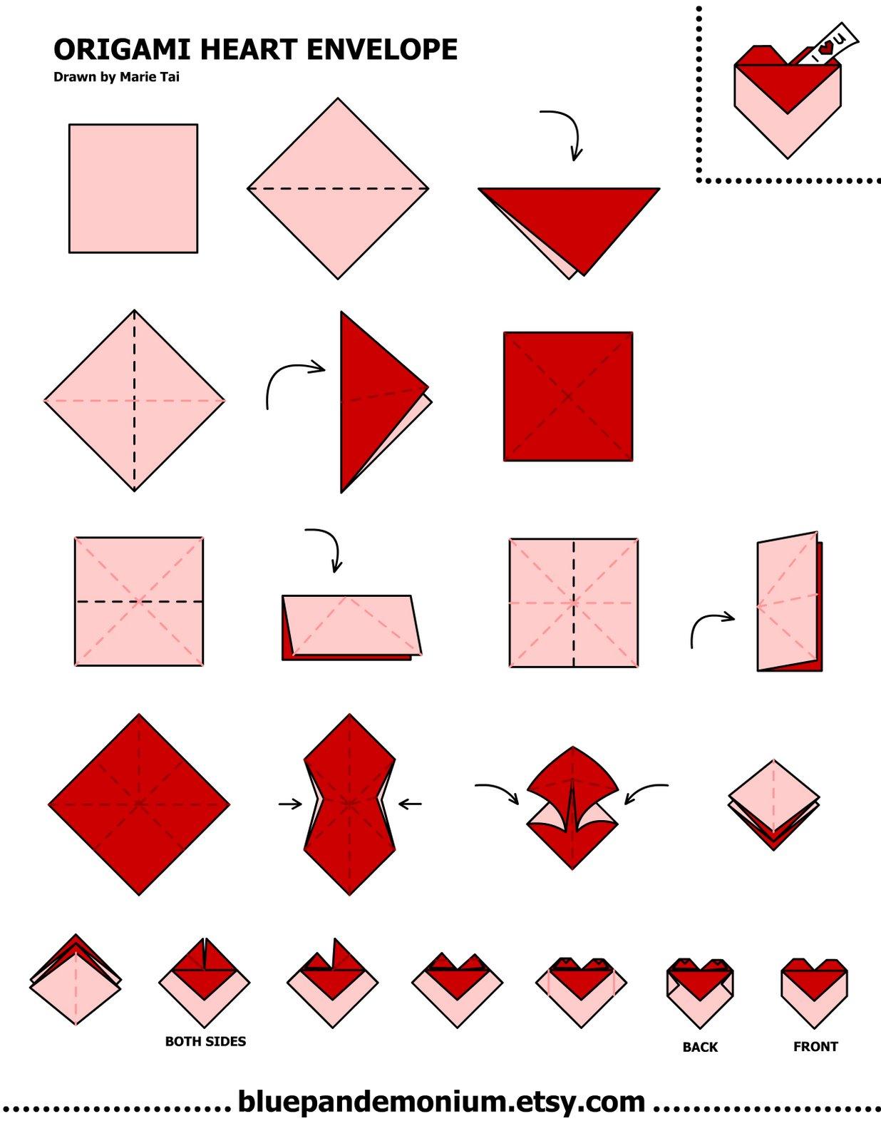 tutorial origami hati