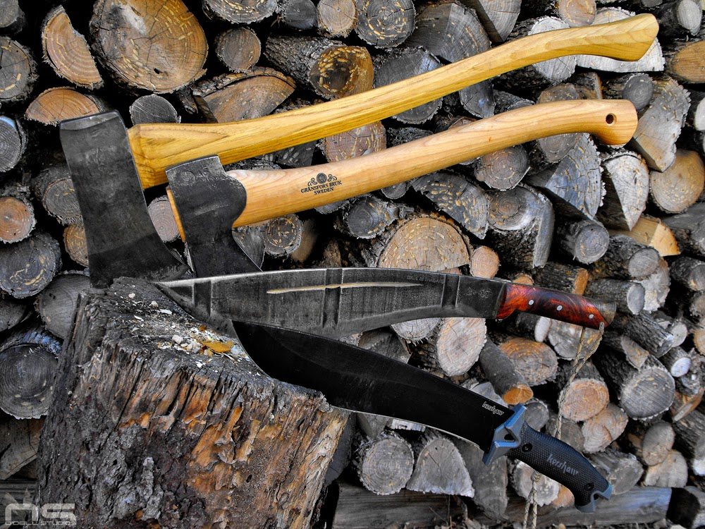 camp knives, kershaw, wood splitting test review