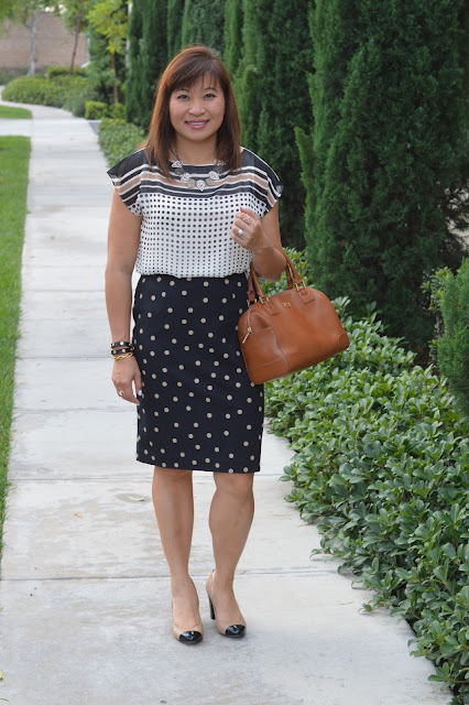 Ann Taylor Polka Dot Pencil skirt, Ann Taylor Quilted Block Heels
