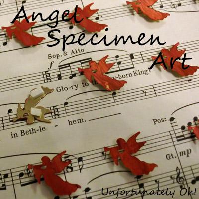 angel specimen art with sequins