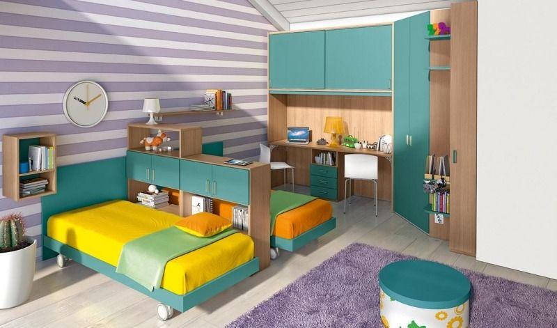 Dormitorios juveniles para dos chicas modernas for Habitacion juvenil dos camas