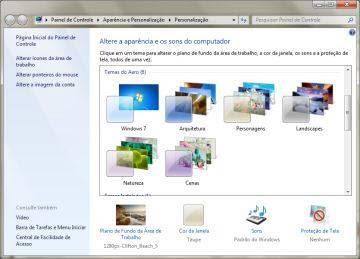 Janela Personalização do Windows 7