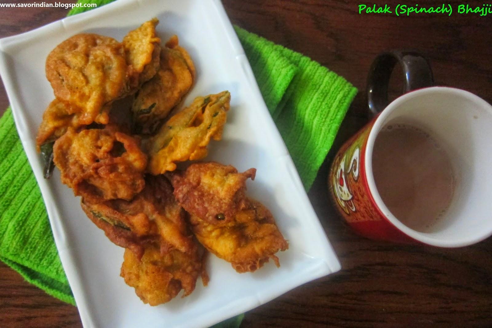 crispy palak (spinach) bhajji /spinach dumpling/ palak pakoda/palak bhajiya